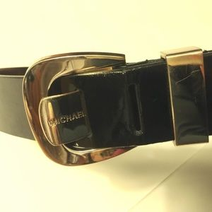 Michael Kors Vegan Patent Leather Belt Gold Buckle